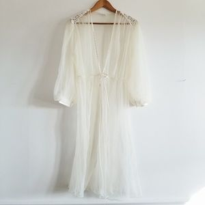 Vintage Cream Sheer Robe